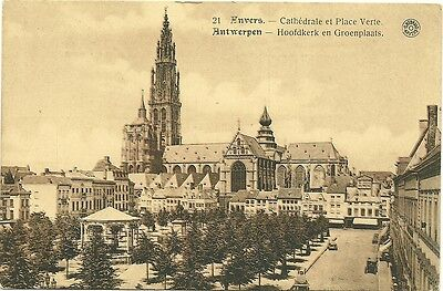 Cpa - Anvers - Cathedrale Et Place Verte  - Non Circulee