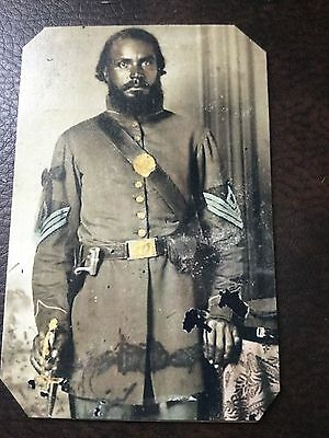 Civil War Military African American Soldier tintype C661RP