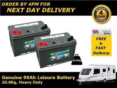 2x 90Ah Deep Cycle Leisure Battery, Caravan Boat Camper Battery 12V