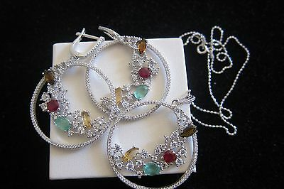 SALE!! Classic!Ruby Emerald Citrine 925 Sterling Silver Earrings&Necklace Set