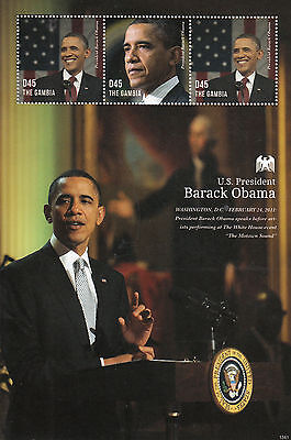 Gambia 2013 MNH US President Barack Obama 3v M/S USA White House Stamps