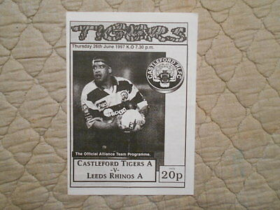 Castleford Tigers 'a' V Leeds Rhinos 'a' Alliance League Match Programme 1997