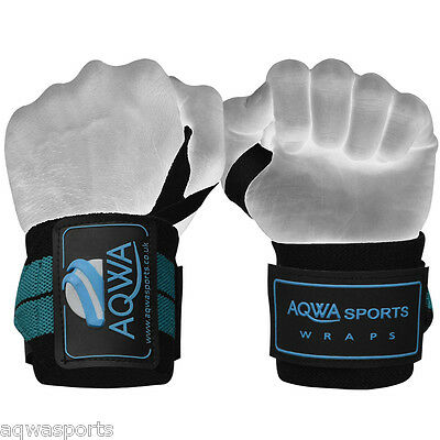 """Weight Lifting Wrist Wraps Bandages Power Grip Gym Support Straps 18"""" Aqua Green"""