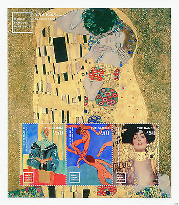 Gambia 2014 MNH World Famous Paintings 3v MS II Gustav Klimt Kiss Matisse Stamps