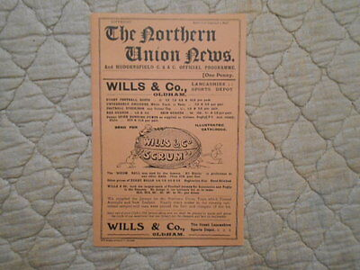 Northern Union News With Huddersfield V Batley Rugby League Supplement 1911