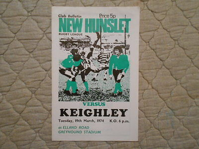 New Hunslet V Keighley Rugby League Match Programme March 1974