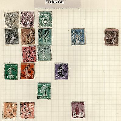 DMB - France Stamp Collection on Old Album Page #10 -  MH & Used