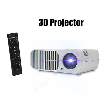 5000 Lumens LED Projector Home Theater USB TV 3D HD 1080P Business White US HL