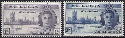 St Lucia Stamps KGVI 1946 Victory Set of 2 Unmounted Mint MNH