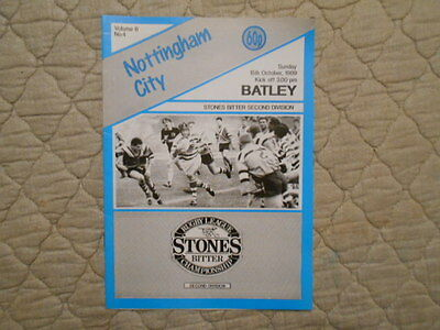 Nottingham City V Batley Rugby League Second Division Match Programme 1989