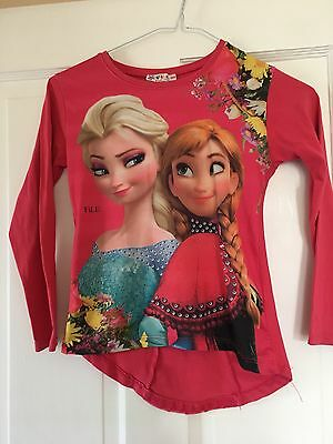 Girls Aged 7-8 Pink Frozen L/S Top With Back Detail