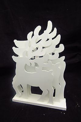 Free-Standing, White, Wooden Reindeer Christmas Decoration (792T)