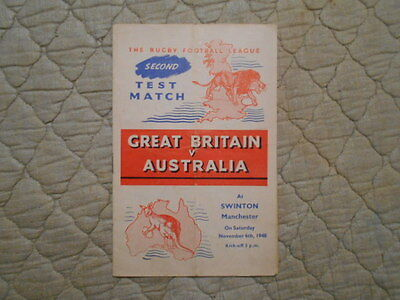 Great Britain V Australia Rugby League 2Nd Test Match Programme 1948