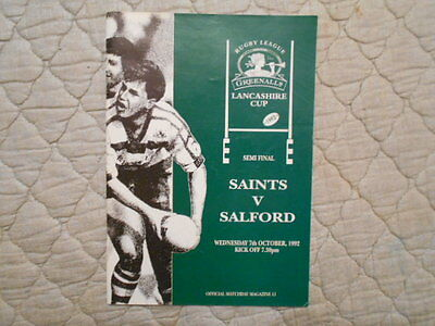 St Helens V Salford Lancashire Cup Semi Final Match Programme 1992
