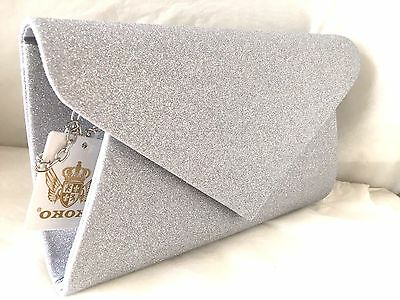 New Glitter Champagne Rose Gold Brown Silver Navy Baby Pink Evening Clutch Bag
