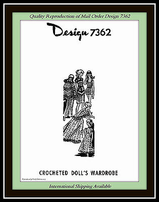 Craft 11½ DOLL Crochet Pattern WARDROBE Gown Cape Vest and more VTG Design 7362