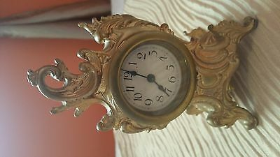 Antique 1880 French Boudoir Rococco brass bronze mantel desk clock works