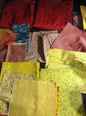 Vintage Fabrics Over 5 Yards Bright Red & Yellow Flowers Grandma's Estate Sewing