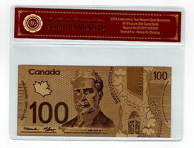 Canada $100 Dollars Banknote Plated 24k Gold Uncirculated Free COA  For Souvenir