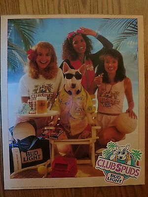 Spuds MacKenzie Budweiser Bud Beer Poster ~ Club Spuds Beach Party
