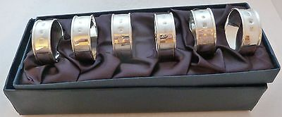 Boxed Set 6 Six Hallmarked Solid Silver Napkin Rings Mark Houghton Ltd London