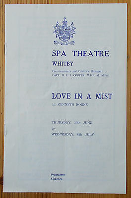 Kenneth Horne's Love In A Mist programme Spa Theatre Witby 1940s