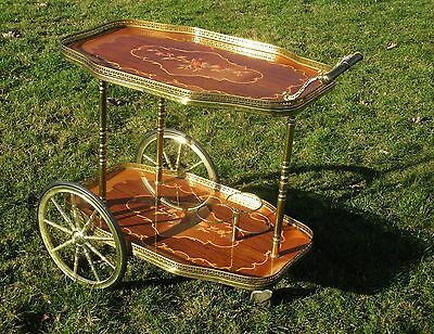 Bar Cocktail Tea Cart Trolley Italian Hollywood Regency Marquetry Vintage Flower