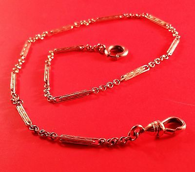 """Vintage Gold Plated Pocket Watch Fob Chain 13"""" (Peerless On Clasp) Long Links"""