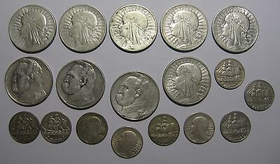 Poland -  Collection of 18 All Silver Coins from 1932 - 1936