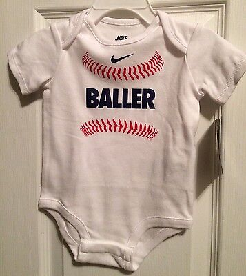 Baby NIKE One Piece Baseball BALLER Bodysuit Size: 9/12 Months NEW