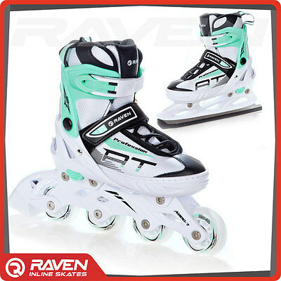 2 in 1 INLINE SKATES Roller Blades Ice Skating Boots Adjustable Shoes UK STOCK