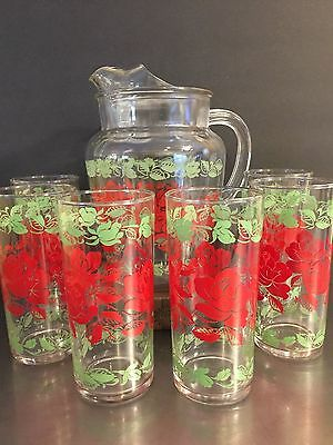 Vintage Glass Pitcher 6 Glasses Red Green Floral Made USA Mid Century Lemonade