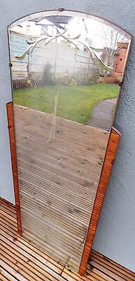 Vintage Retro Wall Hung Frameless Mirror Bevelled Edge Etched Peach Trim