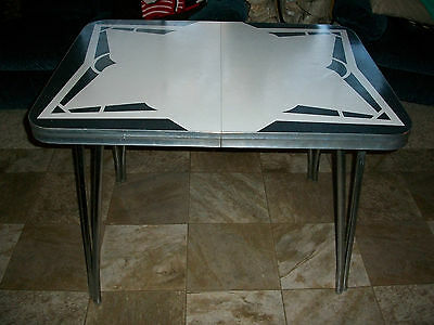 Vintage~Mid-Century Chrome/Formica~Retro Kitchen Table w/ One Leaf