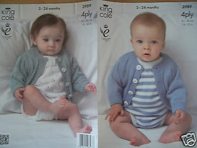 """Baby Romper & Cardigan Knitting Pattern For 4Ply Yarn 16-22"""" King Cole 3989"""