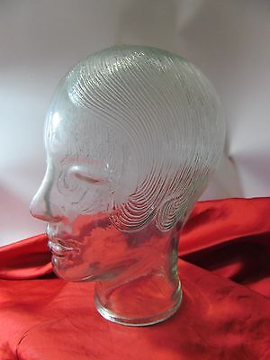 Vintage Green Glass Woman Mannequin Head with Hair