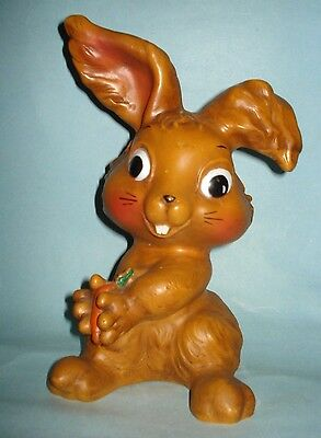 VTG Blow Mold Brown Plastic CUTE EASTER BUNNY RABBIT Carrot COIN MONEY BANK TOY