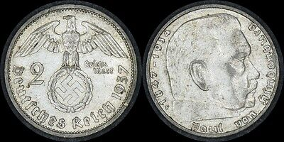 GERMANY 1937 F 2 Marks Silver Coin