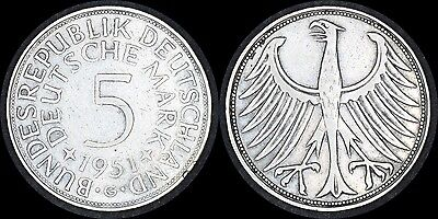 GERMANY 1951 G 5 Marks Silver Coin