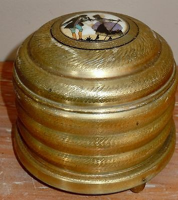 L@@k! Vintage Vanity Music Box Powder Lambeth Walk Gold Wood Base Lid Gold Metal