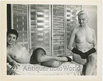Two pretty nude women on bed vintage pinup photo