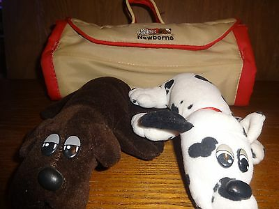 "2 Vintage Pound Puppies 8"" Newborn with Carrying Case Carrier Tonka"