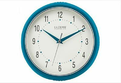 La Crosse Technology 9.5 Inch Round Teal Wall Clock Dome Glass Metal Hands