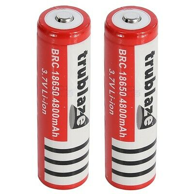 2x 18650 Battery 3.7V High Capacity Rechargeable Low Drain For Torch Flashlight