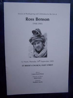 Ross Benson   - Celebration of Life  program - Social History - Ephemera
