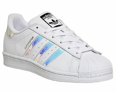 Womens Adidas Superstar  WHITE METALLIC SILVER WHITE Trainers Shoes