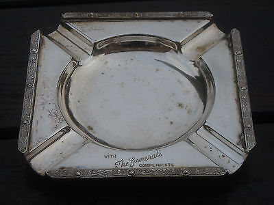 A Lovely Vintage Silver Plated Ash Tray - Scottish & Military Interest?
