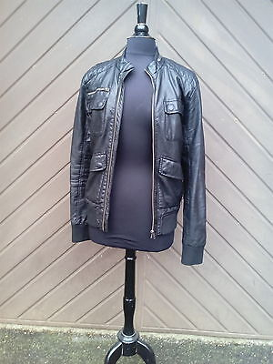 """Ladies """"Retro Style"""" Leather Look Bomber/Biker Jacket by H&M Size: Small"""