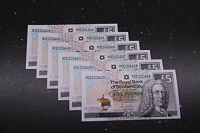6 X 2014 Ryder Cup Sequential Ltd Edition Royal Bank Of Scotland £5 Notes
