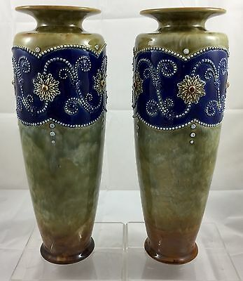 STUNNING PAIR OF ROYAL DOULTON POTTERY VASES ** 1922 - 1956 ++ 36cm HIGH **